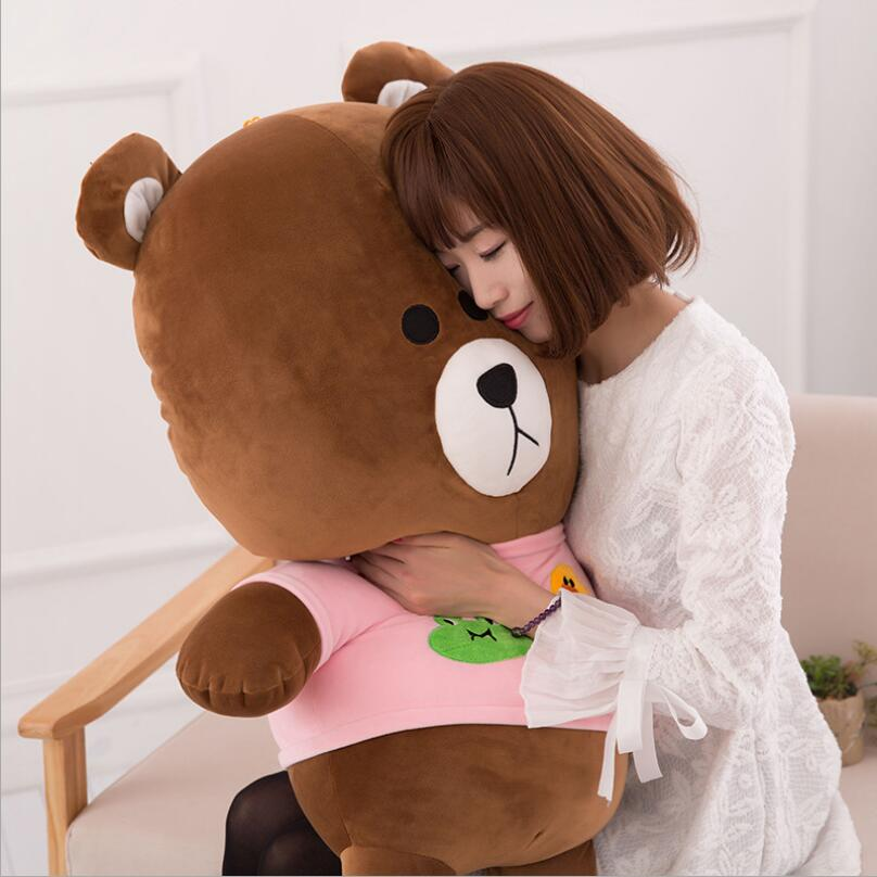 New Big Size Brown Bear Plush Toy Lovely Bear Doll Stuffed Animal Pillow Children Birhtday Gift stuffed animal 130cm brown teddy bear plush toy bear doll throw pillow gift w3571