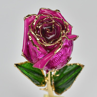 UBUY Nature Real Rose 24k Gold Plated Rose Flower With Gift Box For Valentine's Day Gift