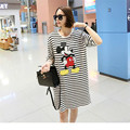 Summer Maternity T-shirts Cartoon Mouse Patterns Design Stripe Long Loose Personalized Short-sleeve T-shirt Pregnant  Clothing