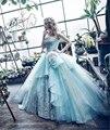 Nueva Elegante vestido de Bola Vestidos de Quinceañera 2017 Vestidos de La Princesa de Cristal Vestido de Fiesta de Encaje Hasta Vestidos De 15 Anos QA1136