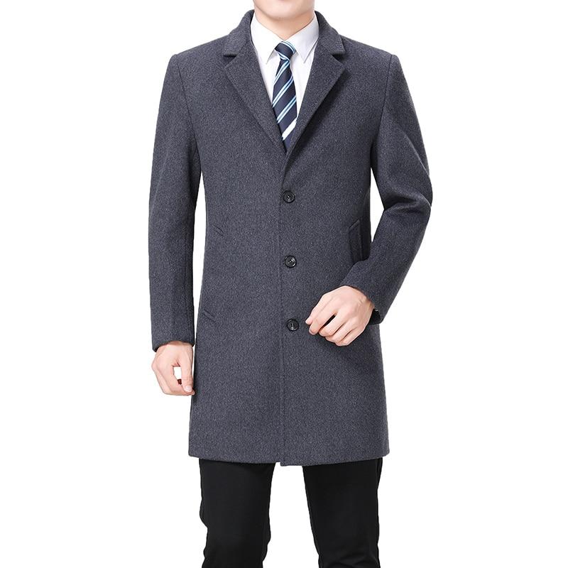 2020 High Quality Wool Coat Men Winter Long Coat Peacoat Long Jacket Men Cashmere Coat Mens Wool Blend Overcoat Trench Coat Man