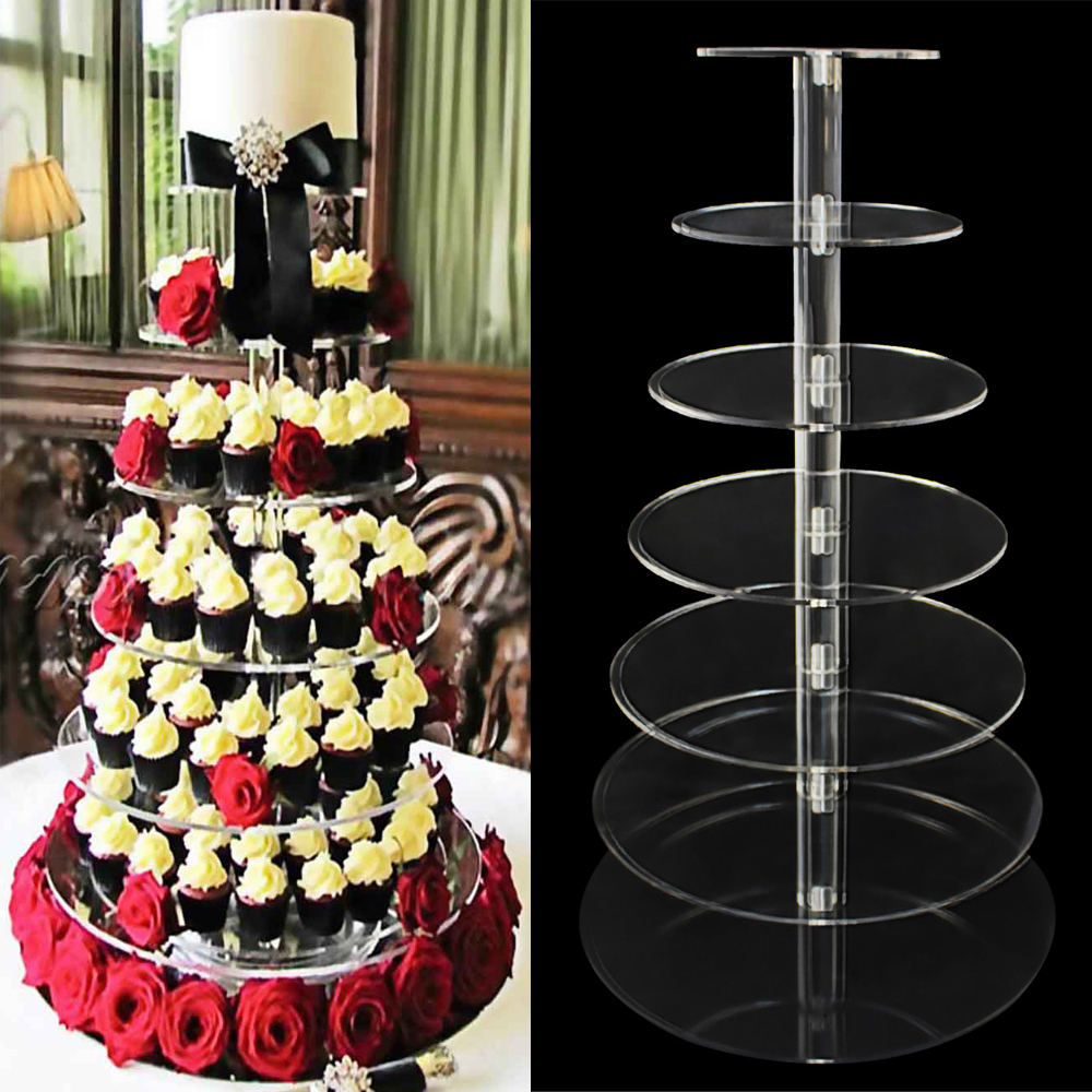 7 Layers Cake Decorating Tools Dessert Stand Crystal Clear Circle Acrylic Cupcake Bracket Wedding Party Decor Crafts In Stands From Home Garden
