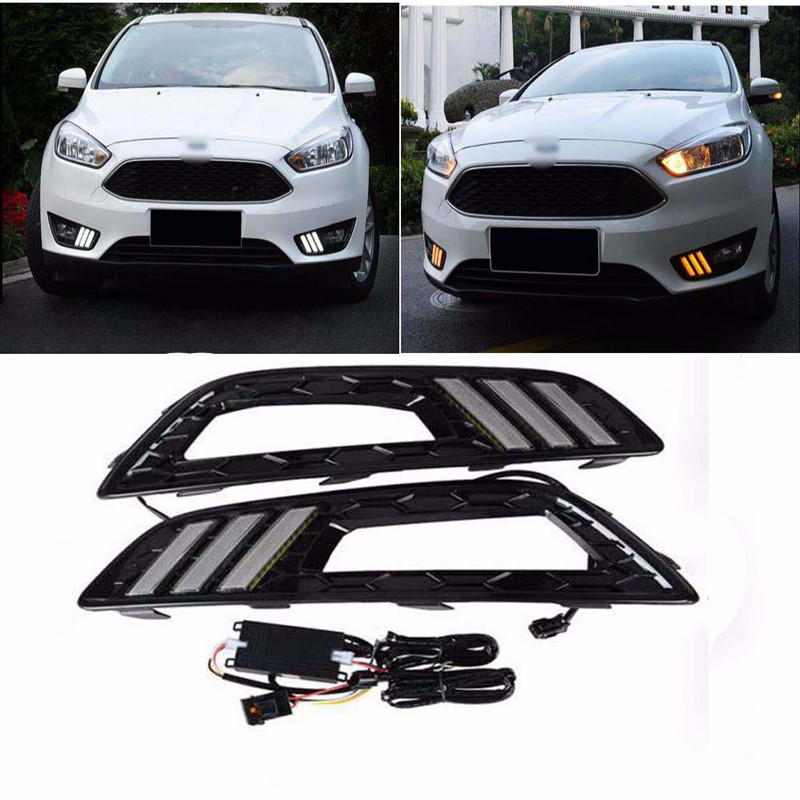 Turn Signal And Dimming Style Relay 12v LED Auto Car DRL Daytime Running Light Bumper Front Fog Lamp For Ford Focus 4 2015 2016 led car daytime running light drl bumper with turn off and dimming relay front fog lamp for ford focus 3 2012 2013 2014 12v