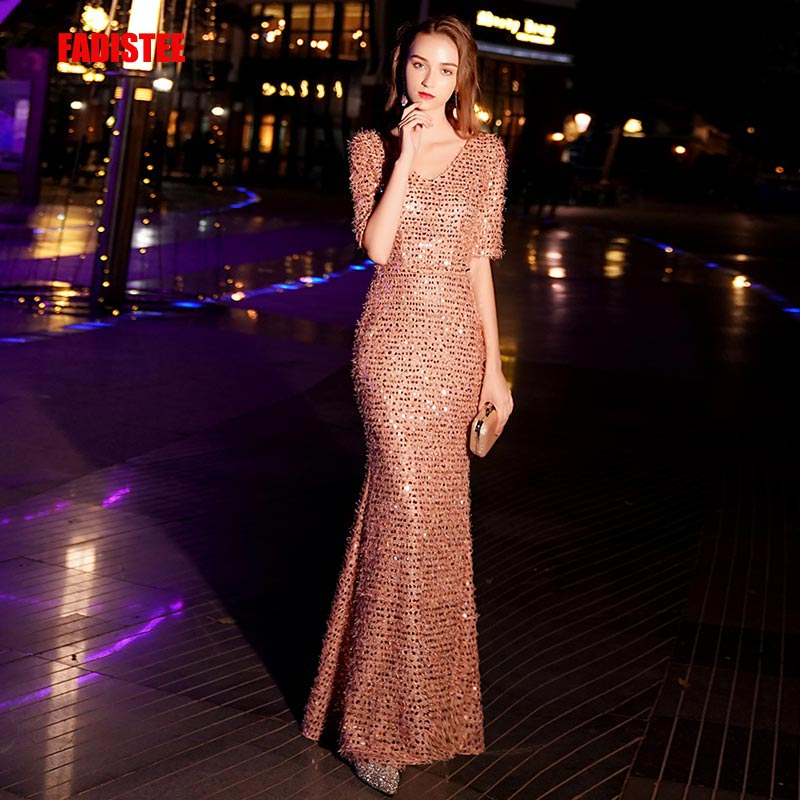 FADISTEE New Arrival Elegant Party Dress Evening Dresses Prom Frock Vestido De Festa Luxury Bling Sequin Half Sleeve V-neck 2019