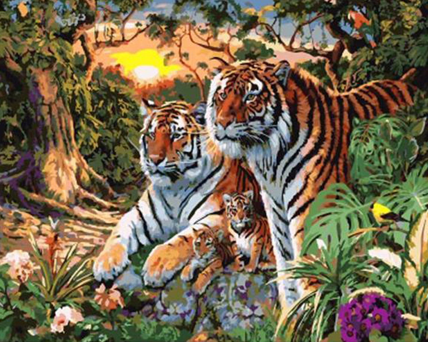 Two tigers By Numbers Modern Wall Art Handpainted Oil Painting On Canvas For Home Decor  ...