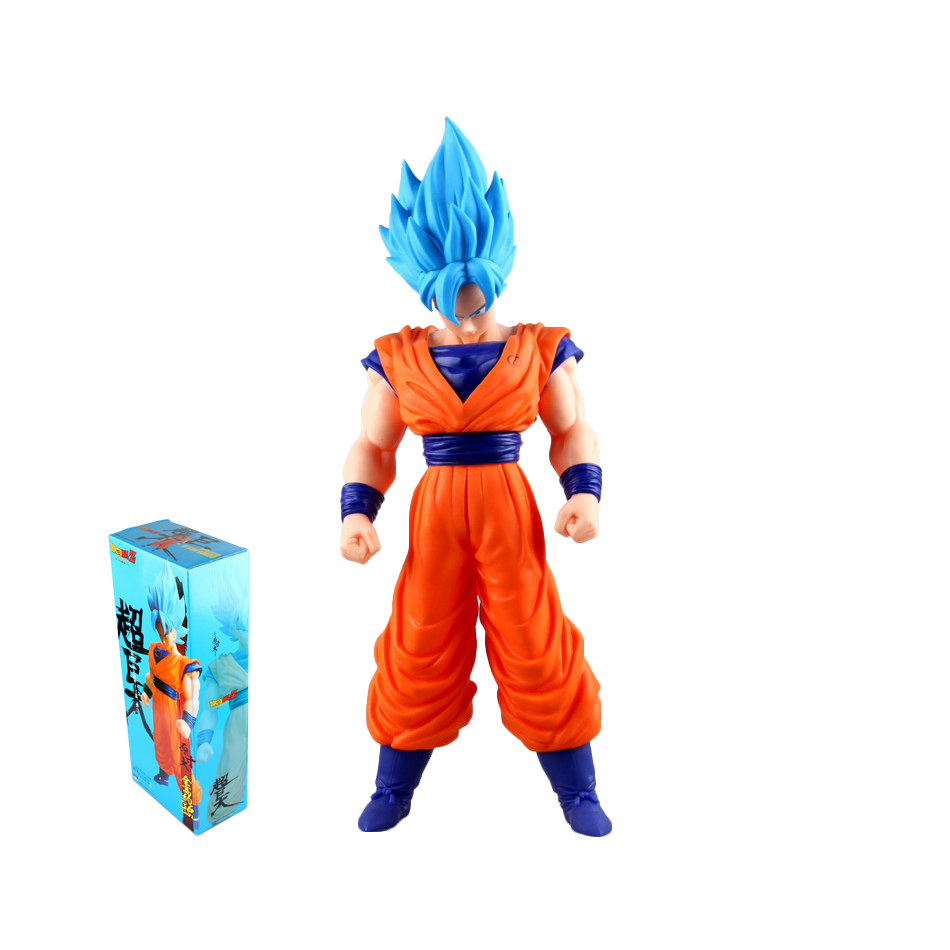 цены XINDUPLAN Dragon Ball Z Action Anime Dragonball Son Goku Kakarotto Super Saiyan God Blue Action Figure Toy 42cm PVC Model 0123