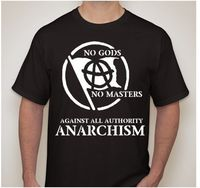 NO GODS NO MASTERS Slave Obey Atheist AGAINST AUTHORITY Anarchy Symbol T Shirt T Shirt Men