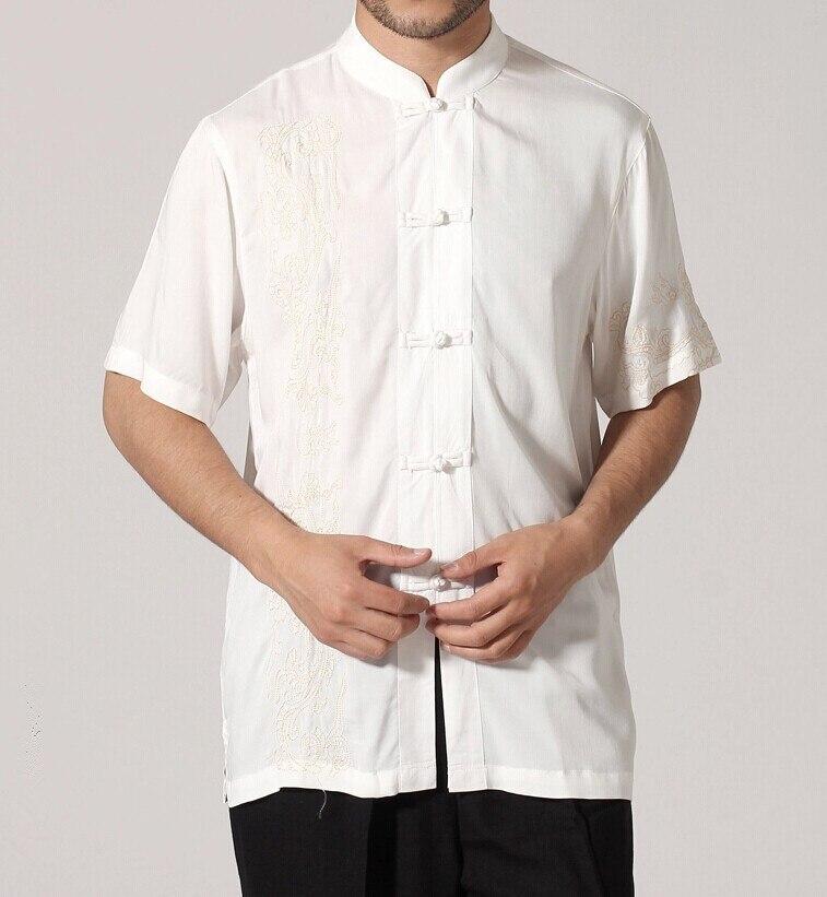 Черный традиционный китайский стиль Мужская рубашка Кунг-фу топ с короткими рукавами одежда Размер S M L XL XXL XXXL Mny-03C - Цвет: Белый