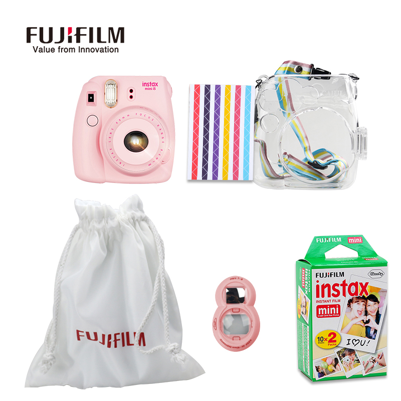 Fujifilm Instax Mini 8 Film Camera + Cloth Bag + Close-Up Lens + 20 Sheets Film + Transparent Plastic Bag Case Accessories Set fujifilm instax mini 8 black