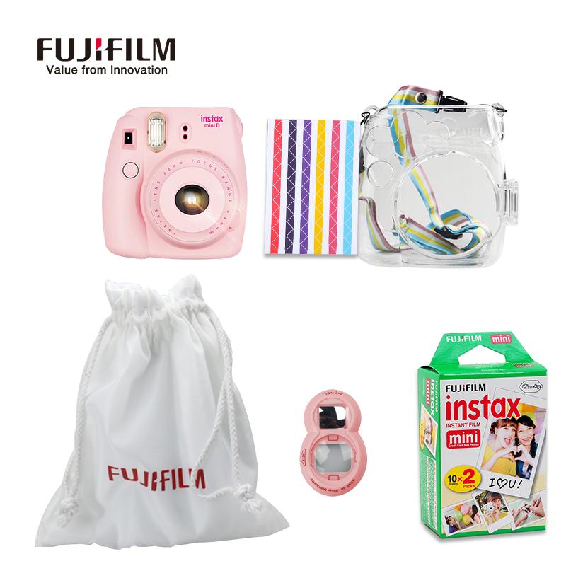 Prix pour Fujifilm instax mini 8 film caméra + sac en tissu + close-up lentille + 20 Feuilles Film + Transparent En Plastique Sac Cas Accessoires ensemble