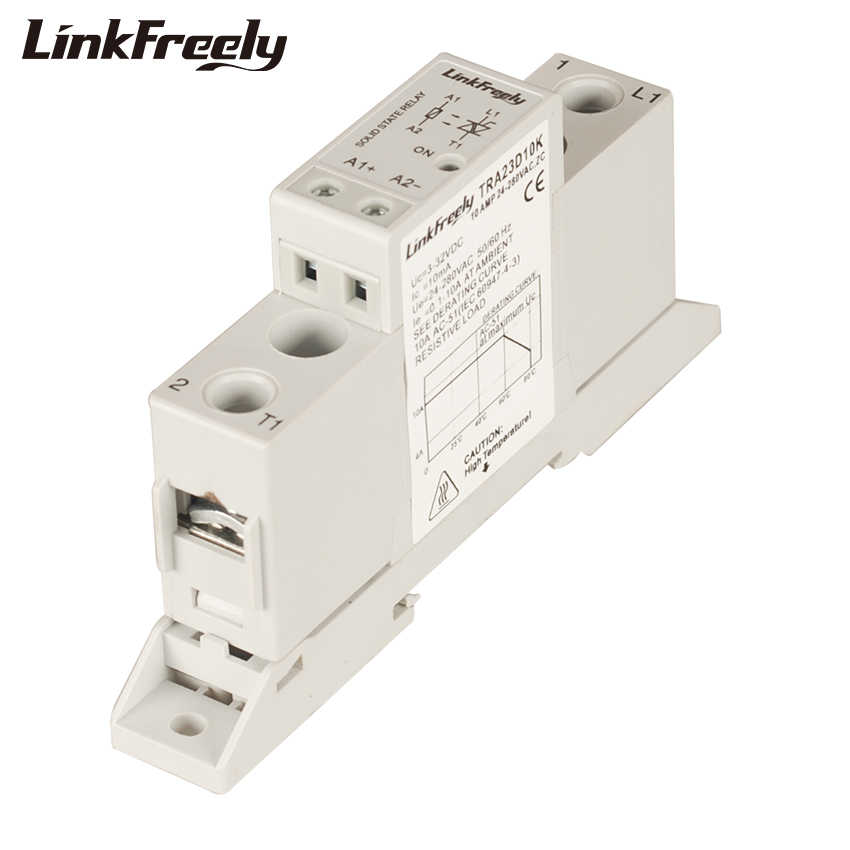 TRA23D10K 10A DC AC Smart Auto Solid State Relay Board 3V 5V 12V 24VDC In Out 24-280VAC SSR Relay Module Din Rail With Base