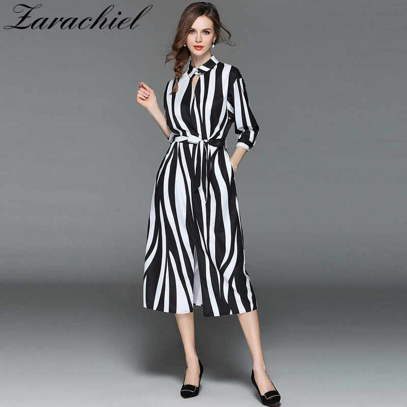 b7cd274bcdf9e Detail Feedback Questions about Fashion Zebra Vertical Striped Dress 2019  Summer Women Belted Loose Waist Split Long Shirt Dress Plus Size Vestidos  Mujer ...