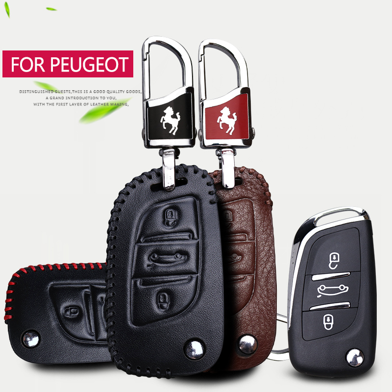2018 New Leather Car Key Case Cover For Peugeot 206 207 2008 308 301 407 508 107 106 3008 2017 Rcz Partner Key shell Accessories image