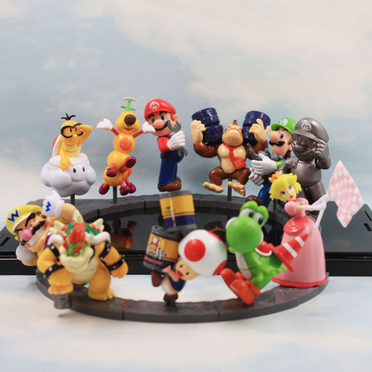 11pcs/set Super Mario Bros Peach Toad Mario Luigi Yoshi Donkey Kong PVC Action Figure Super Mario цена