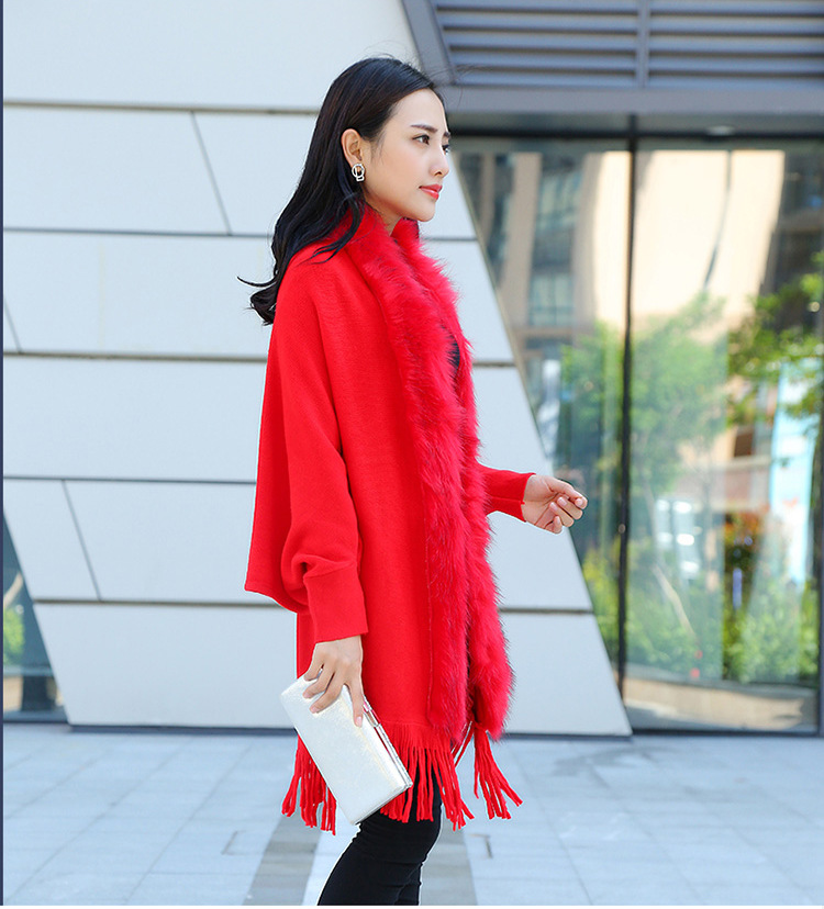 Faux Fur Collar Shawl Cardigan Tassel Winter Warm Coat 34