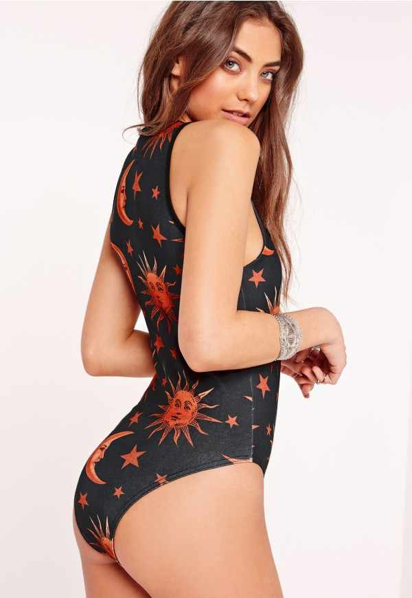 0c6205c6b84 ... Print Sun Stars Moon Graphic Sports One Piece Halter Swimsuit Sexy  Women Swimwear Bandage Monokini Deep ...