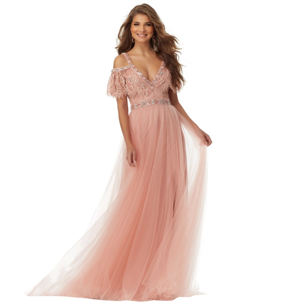 Blush Prom Dresses 2017 New Arrival V Neck Cap Sleeves Lace Beaded ...