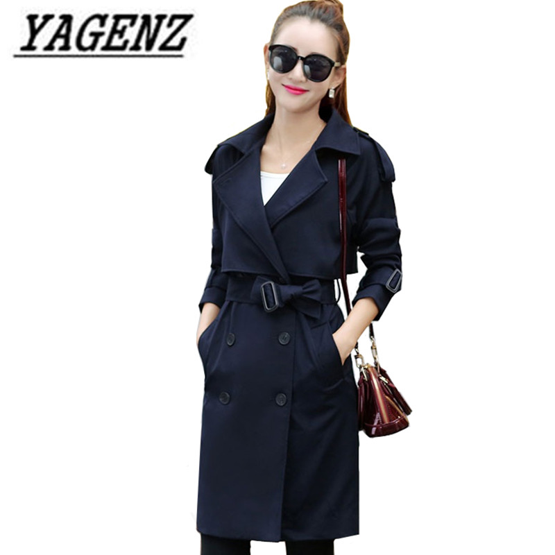 Double-breasted British Style Women Windbreaker 2018 New Spring Autumn Loose Patchwork Outerwear Casual Female Long   Trench   Coats
