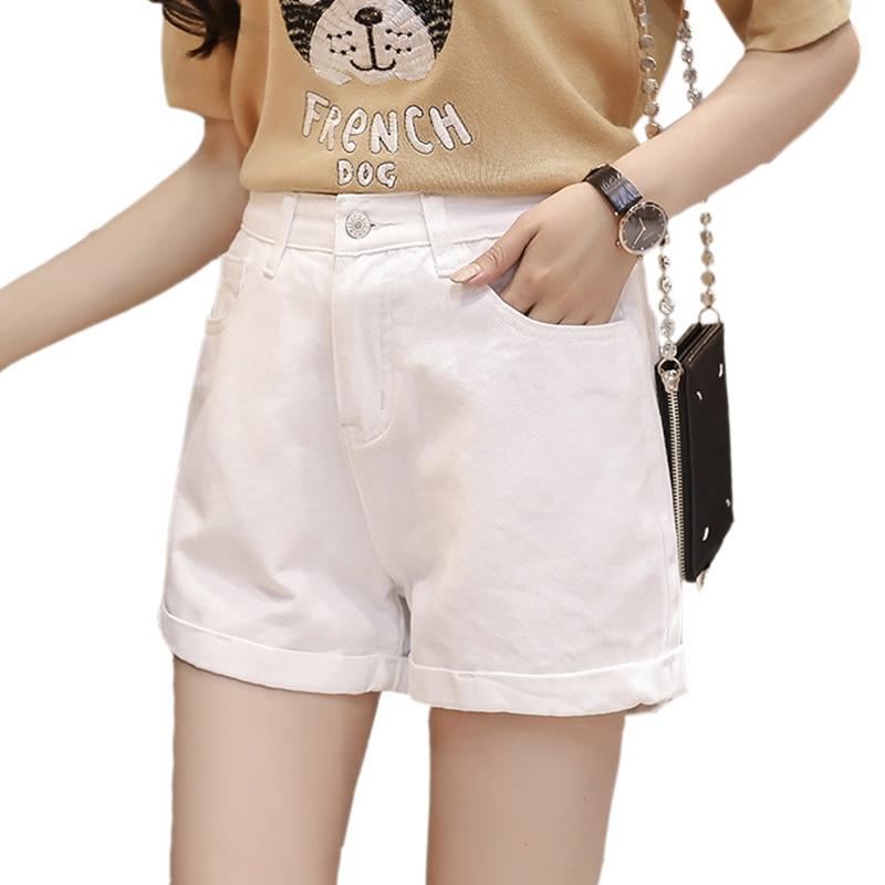 2018 New Fashion Crimping Women's Jeans Summer High Waist Denim Shorts White Slim Korean Casual Women Jeans Shorts Plus Size