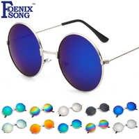 Gafas de sol redondas de FOENIXSONG para mujer, nuevo marco de plata Vintage, gafas de sol Unisex para hombres, gafas Retro para mujer