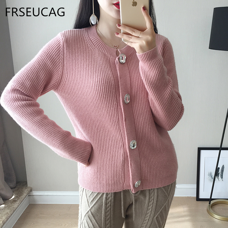 High quality cashmere sweater ladies computer knit solid color round neck full sleeve cardigan short jacket warm and comfortable