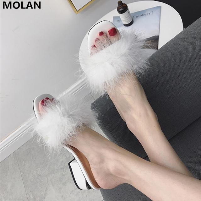 check out 9859f f334b MOLAN-Brand-Designers-2018-Summer-Fashion-Black-White-Ostrich-Feather-Strange-Heels- Woman-Shoes-Pumps-Slip.jpg 640x640.jpg
