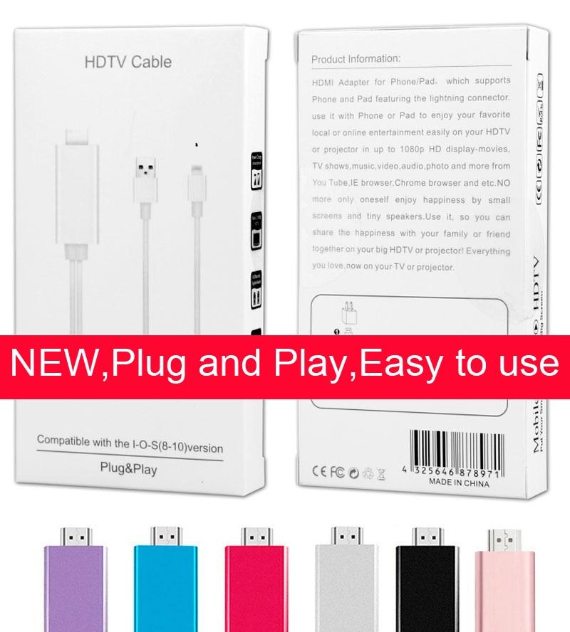 Цена за Plug and play телефон к HDMI TV HDTV AV 1080 P видео кабель для iPhone 5 5S 5C 6 6 S плюс 7 Plus IPad 4 воздуха PRO TV/проектор