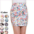 New 2017 Free Shipping 5 Colors Summer  Womens Pencil Vintage Saia Print Floral Short Fashion Skirts Elastic Hip Skirt SK053