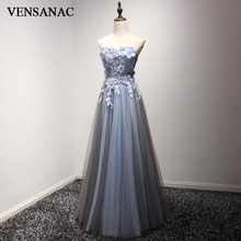 VENSANAC 2018 Crystals Flowers Strapless A Line Long Evening Dresses Elegant Lace Appliques Tulle Party Prom Gowns