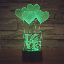 Free Shipping 1 piece 7 Multi Color USB charge LOVE HEART 3D LED night light with 3D luminaria table lamp for LOVERS