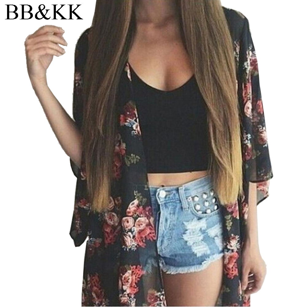 New Fashion Women's Vintage Flower Printing Chiffon   Blouse     Shirt   Women Loose Chiffon Cardigan Kimono