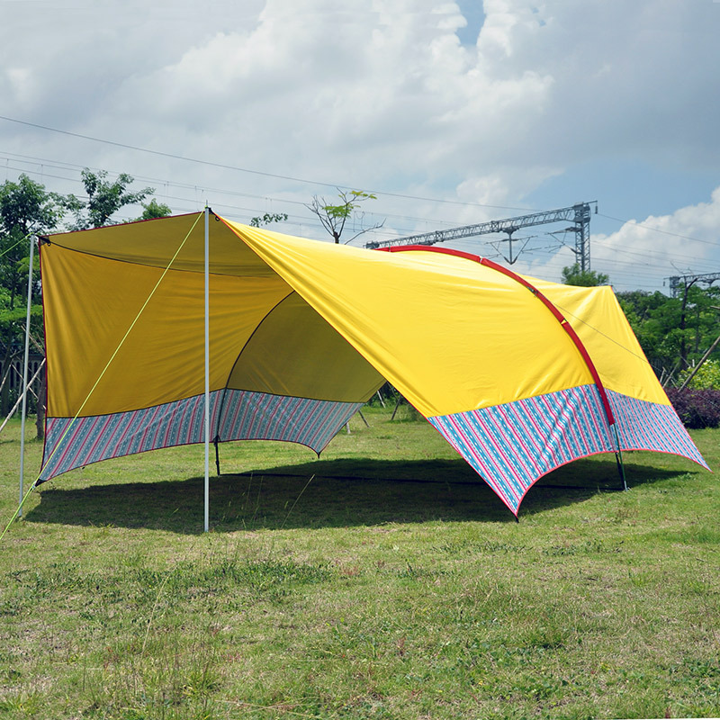 Ultralarge 6 m * 3.8 m * 1.8 m argent enduit Protection UV grand Gazebo abri soleil plage tente bâche grand auvent