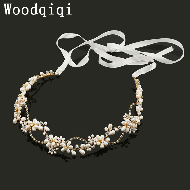 Wedding Headband Hair Vine Pearl Hairband Bridal Tiara Ivory Pearl headband pearl crystal gold wedding headpiece
