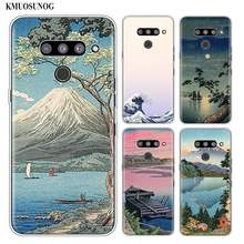 Siliconen Soft Phone Case Wave Art Japanse Groene IK llust voor LG K50 K40 Q8 Q7 Q6 V50 V40 V30 v20 G8 G7 G6 G5 ThinQ Mini Cover(China)