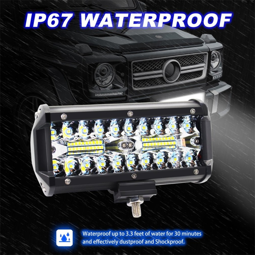 7 inch 120W LED Light Bar Waterproof LED Pods Spotlight Fog Driving Lighting Lamp for Off Road Truck Car SUV Boat