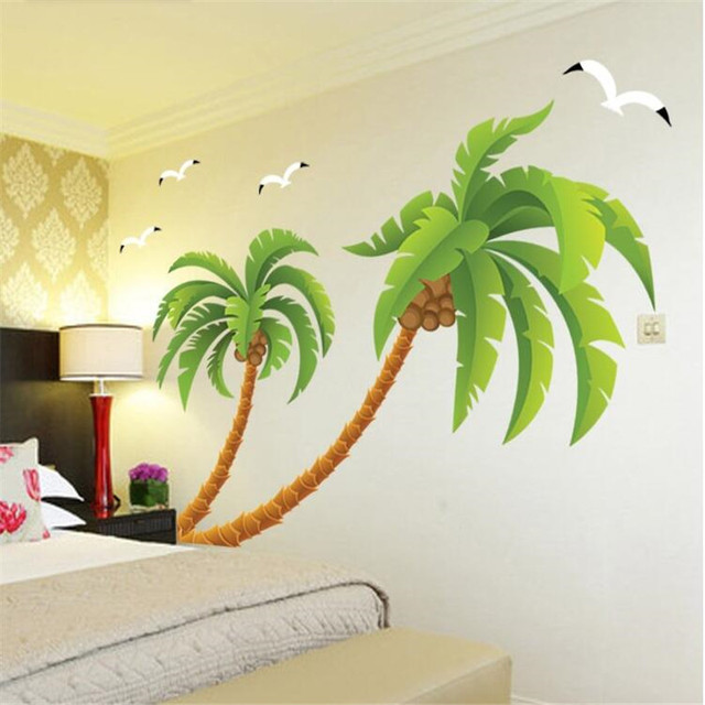 Large Coconut Tree Wall Sticker Bedroom Living Room Corner Decorative Wall  Stickers Home Wall Art Sticker