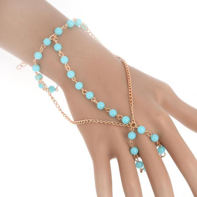 Chic Women S Blue Beads Gold Color Hand Chain Bracelet Bangle With Attached Finger Slave Fashion
