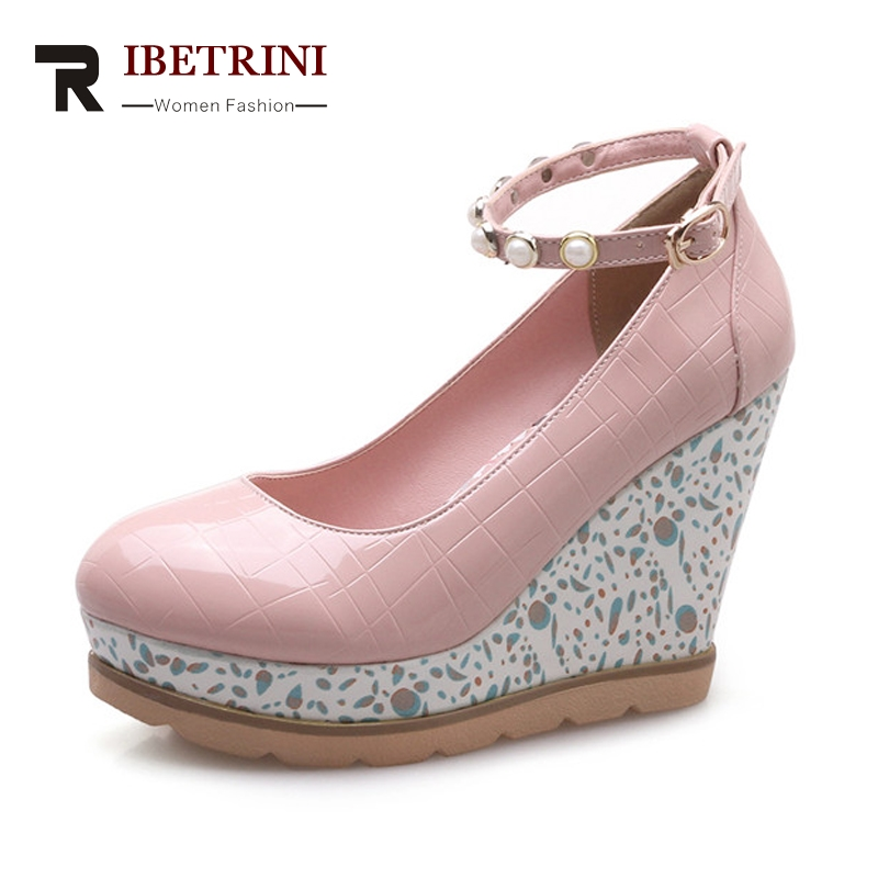 RIBETRINI Women's Ankle Strap High Heel Flower Print Wedge Shoes Woman Round Toe Platform Patent Leather Pumps Big Size 33-42 kemekiss size 33 42 women s high heel wedge shoes women cross strap platform pumps round toe casual mixed color ladies footwear