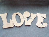 Free Shipping Unfinished Wooden Letters Word LOVE Natural Eco Friendly
