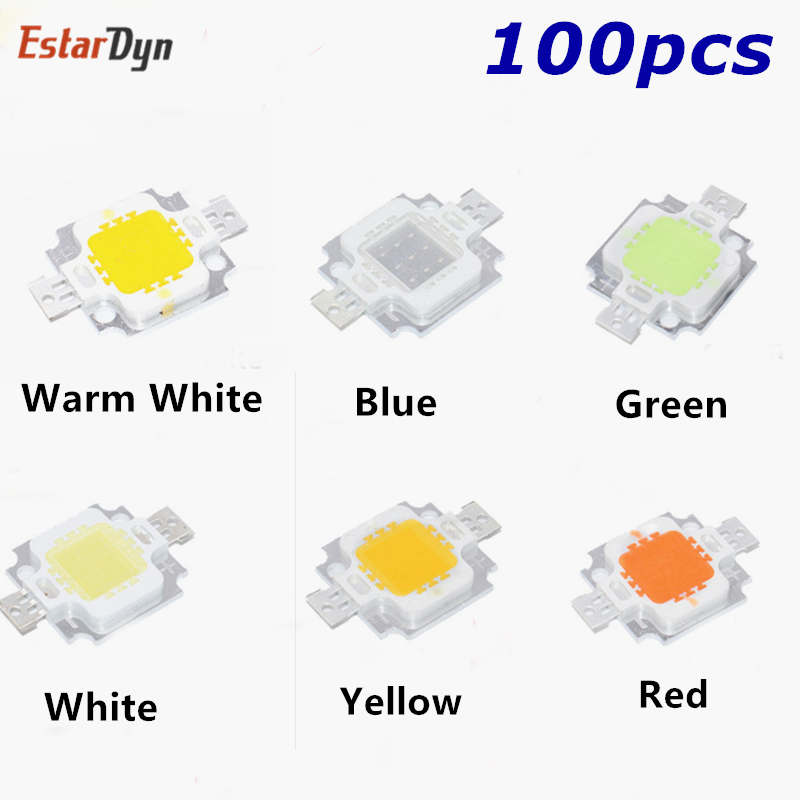 1,5,10Pcs 10W LED Chip Marine Tank Aquarium Grow light White,Blue,Red,Green,Yel