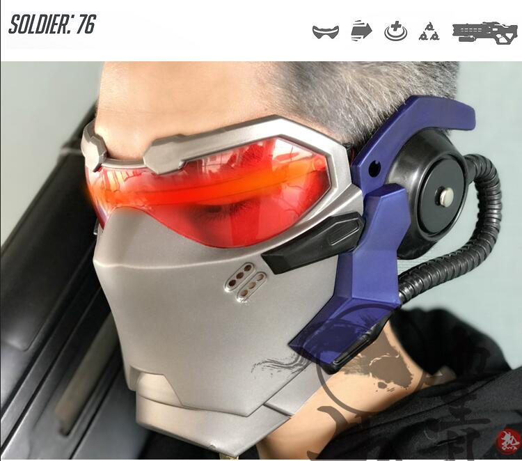 Game OW Soldier 76 Helmet with LED light Cosplay Props Mask PVC Meterial OW Birthday Gift
