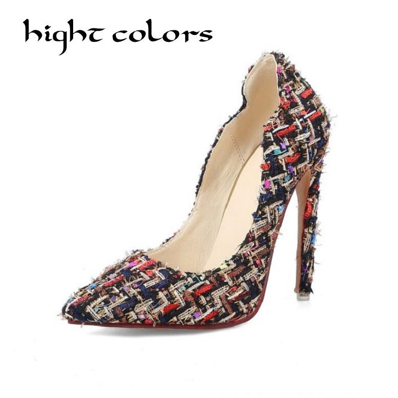 2018 Spring New Shallow Mouth Spell Color High Heels Shoes Slip On Women Pumps Elegant Pointed Toe Ladies Shoes Female 40 45 koovan women pumps 2017 spring new shallow mouth pointed shoes heel pearl buckle with high heeled ladies shoes