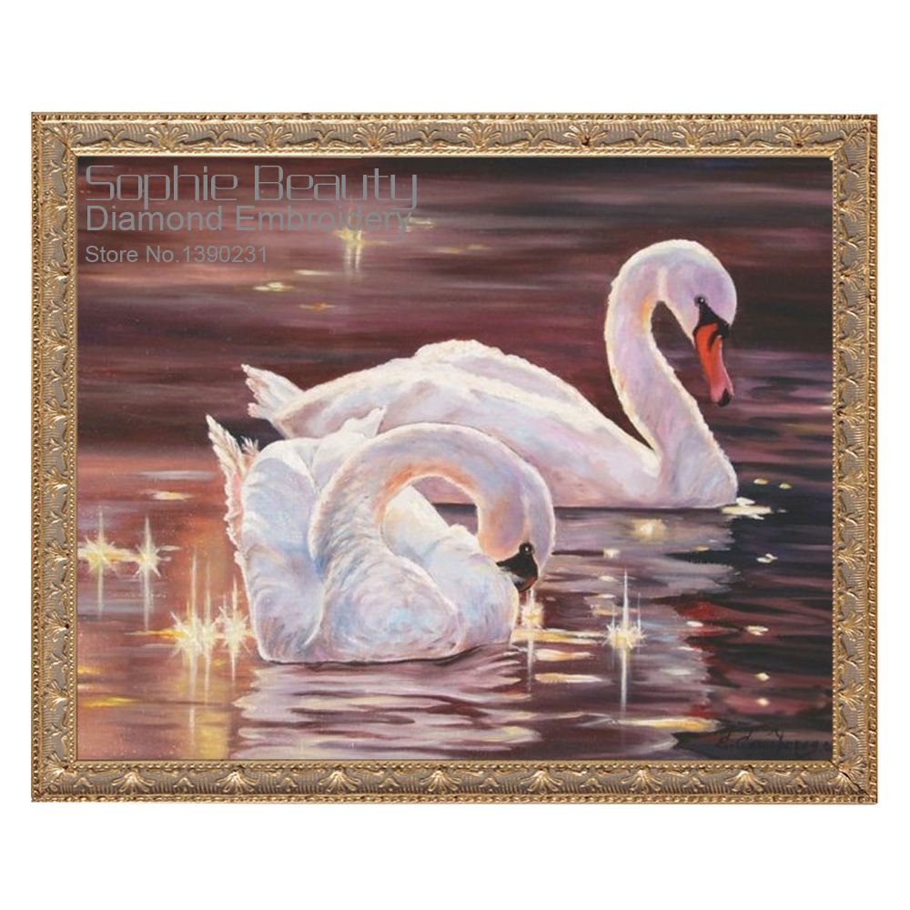 Two Swans On River Diamond Mosaic Full Diamond Embroidery Diy Diamond Painting Cross Stitch Square Diamond Set Home Decorative