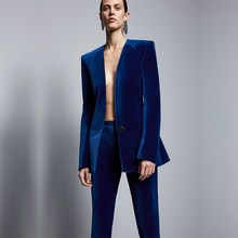 Fashion Royal Blue Velvet Women Formal Business Pant Suits Women Slim Fit Office Ladies Tuxedos Uniform Suits Costume Femme