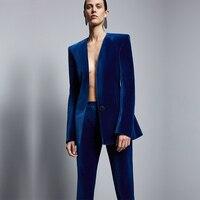 Fashion Royal Blue Velvet Women Formal Business Pant Suits Women Slim Fit Office Ladies Tuxedos Uniform Suits Costume Femme