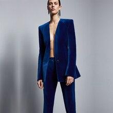 Moda Azul Royal Velvet Mulheres Formais Pant Ternos Mulheres de Negócios Slim Fit Escritório Ladies Smoking Ternos Uniformes Traje Femme