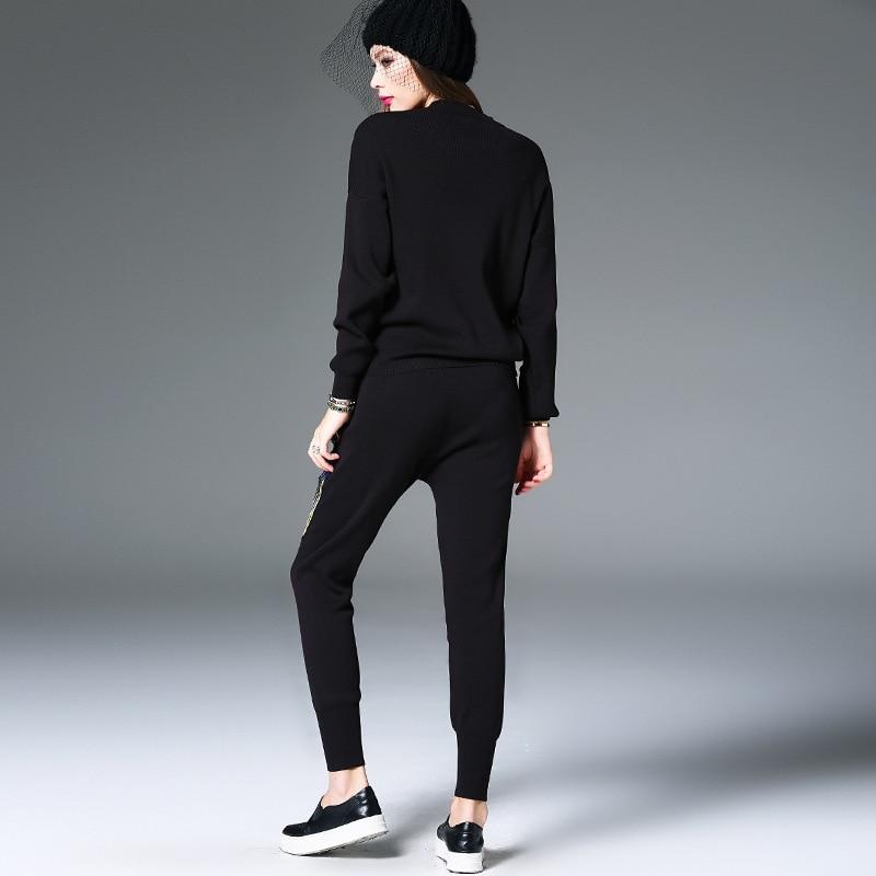 Élastique Survêtement Chandail Pulls Pantalon Pantalons 2 Costumes Taille Tricoté Hiver Black Ensembles Qualité Haute Paillettes Paon Pièce Femme Femmes faz7Zq