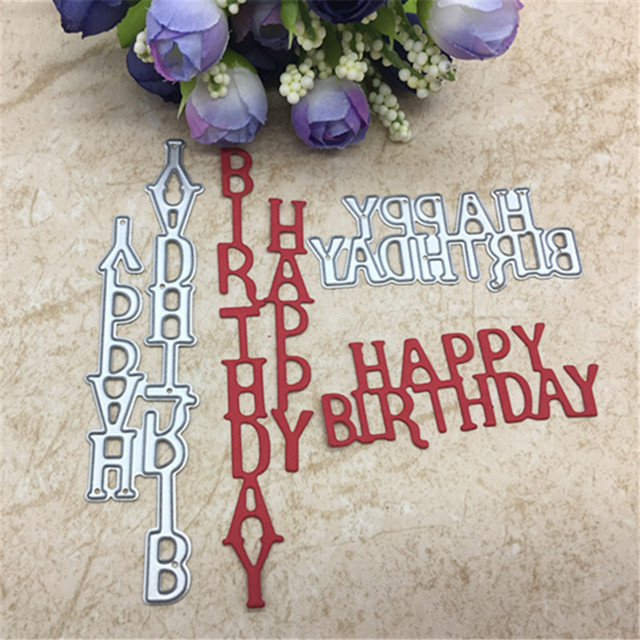 metal cutting dies 2pc letters happy birthday scrapbook card album paper craft party decor stencils cutting