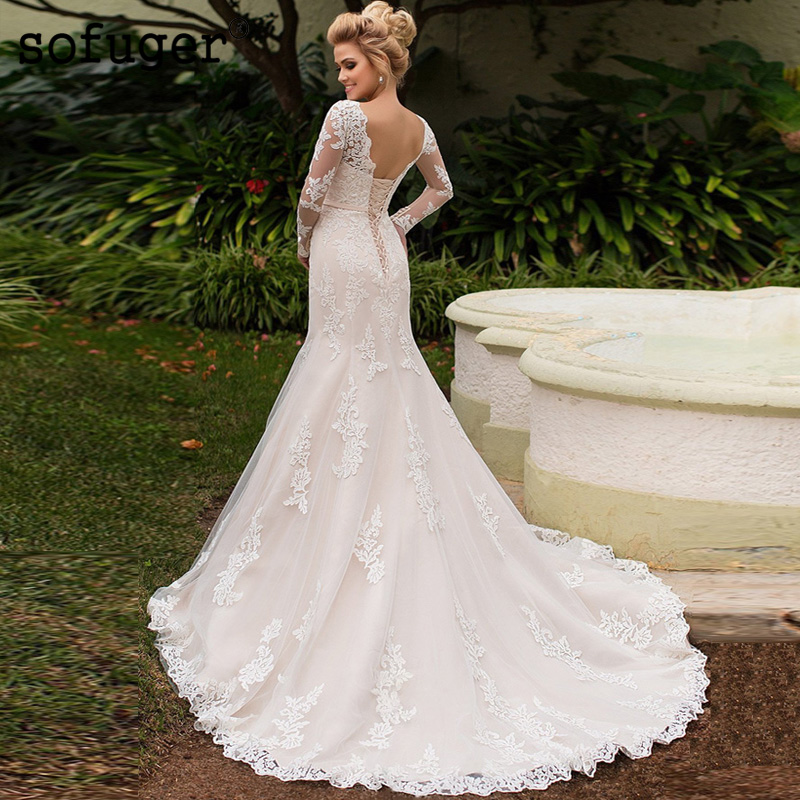 Sexy Scoop White Ivory Mermaid Appliques Lace Up Back Wedding Dresses Bridal Gown Wedding Vestidos de