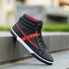Для Мужчин's вулканическая обувь Для мужчин Демисезонный топ модные кроссовки на шнуровке Высокая Стиль одноцветное Цвета человек плоским тапки Homme мальчик обувь